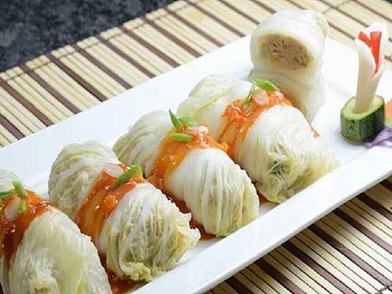 resep sawi putih gulung isi ayam makanan untuk diet