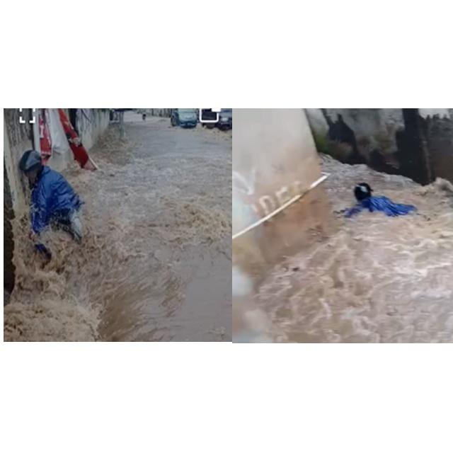 Seorang pria terbawa hayut (Foto : olah video/dara.co.id)