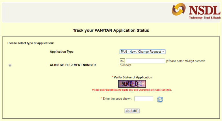 track nsdl and uti pan card statusname and date of birth