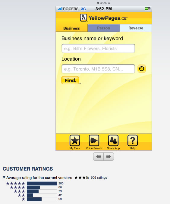 YellowPages.ca Ratings in Apple's iTunes