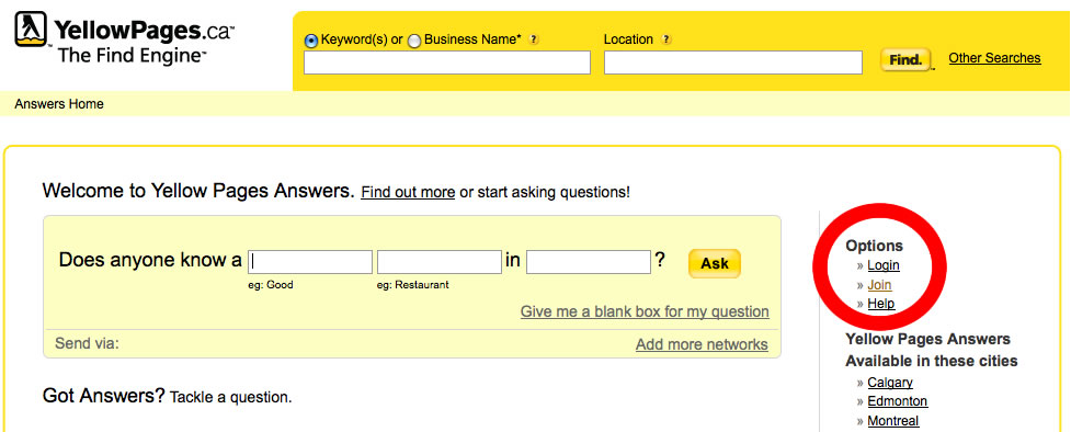Yellow Pages Answers Join