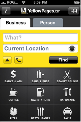 YellowPages.ca iPhone Application 2010