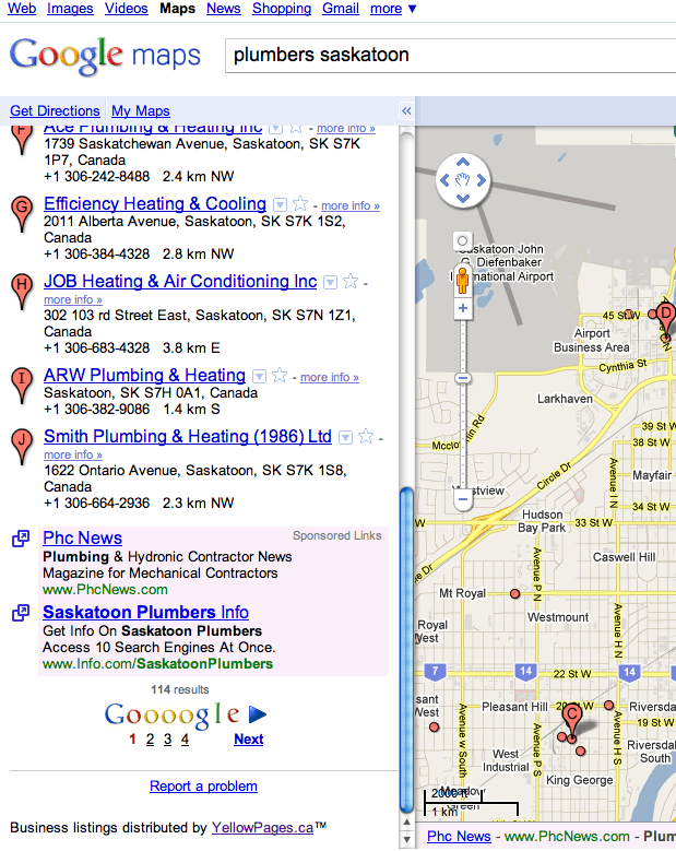 Google Maps Showing YellowPages.ca Attribution