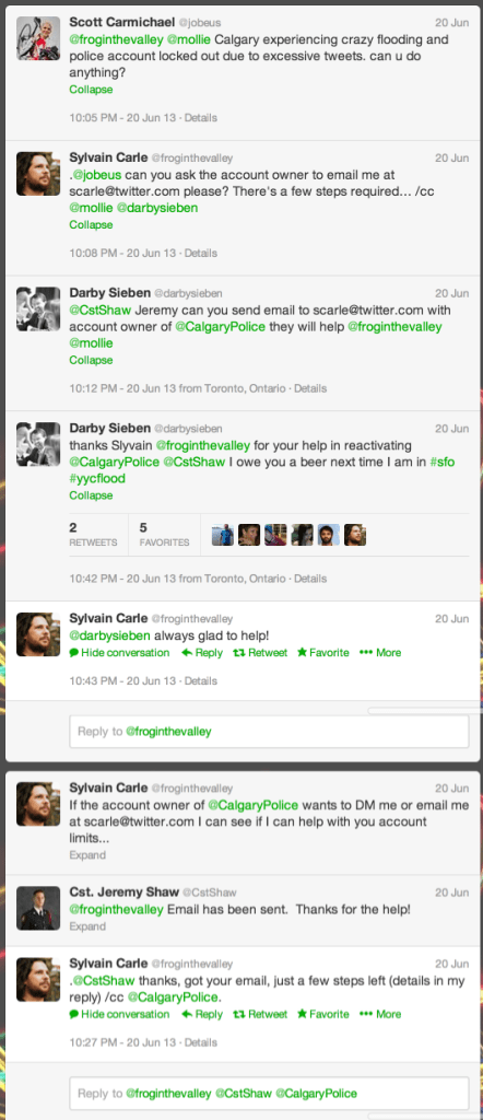 String between Sylvain Carle, CST Jeremy Shaw and other Twitter users including myself