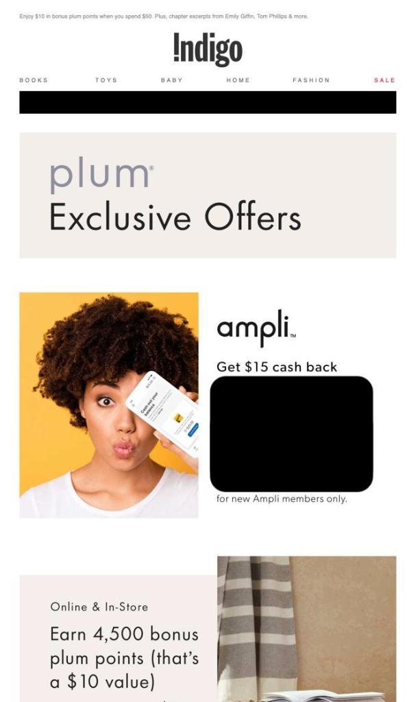 Indigo Plum Rewards Ampli Offer