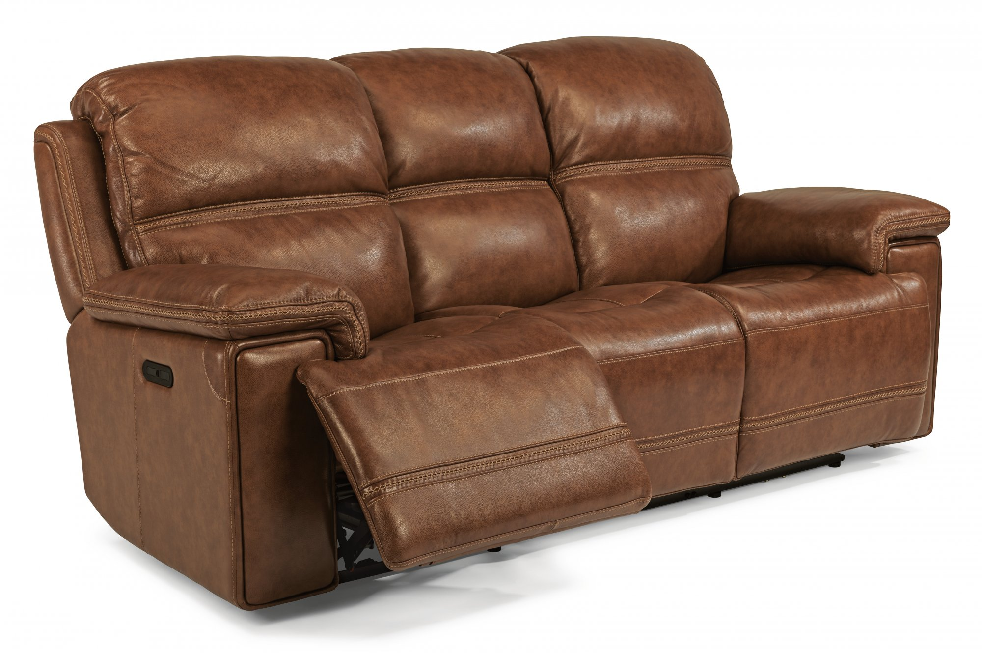 recliner sofa leather black steve silver dylan table reclining sofas suites real