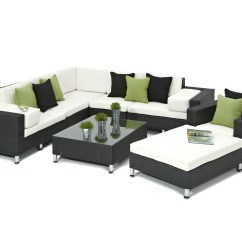 Wicker Sofa Sets Uk Designer Sofas Online Black Rattan Corner Set 5 Piece