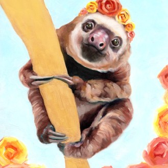 Elvis the Baby Sloth | Oil Painting on Panel by Darcy Goedecke
