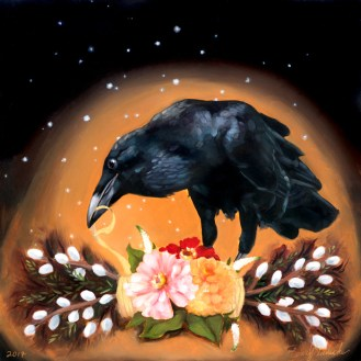 Rogue the Raven | Oil Painting on Panel by Darcy Goedecke