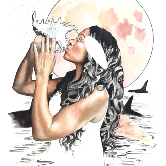 """Her Heart Belonged to the Sea - Whimsical Spirit Animal portrait by Darcy Goedecke featuring orca whales and a coral moon. 24 x 30"""" ink and watercolor on paper. 24 x 30"""" 2018"""