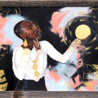 """Gemini JaguarOil, Watercolor, and 23k gold leaf on panel24x36""""2018"""