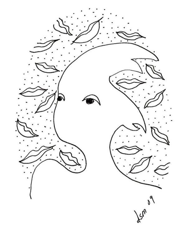 Print on Canvas Leaf lips