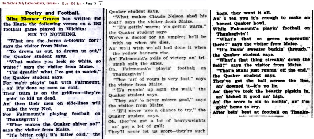 1903 football poem by ruth eleanor graves teams fairmount and friends