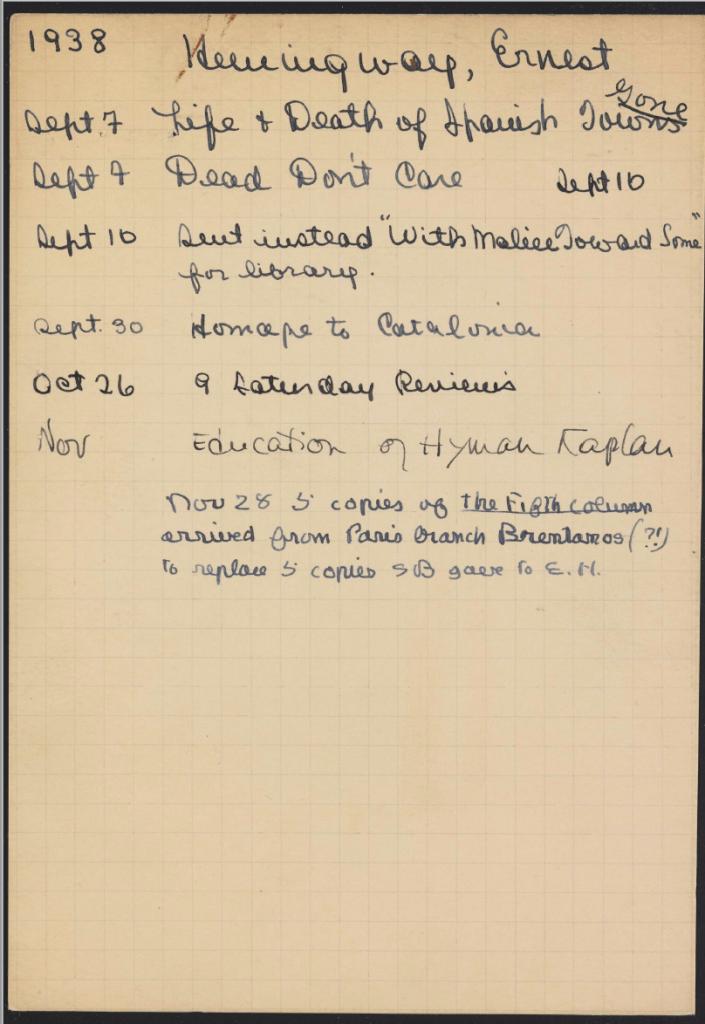 Hemingway's Lending Library card