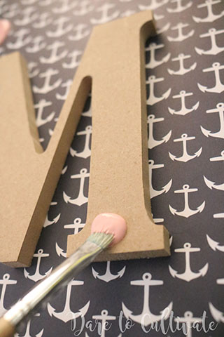 Painting Letter for DIY Bridesmaid Box