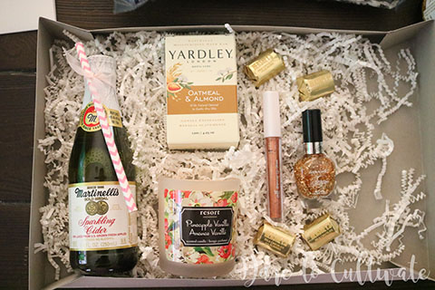 DIY Bridesmaid Box with Martinelli's Sparkling Cider, candle, shimmer lip gloss, nail polish and chocolates