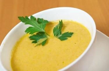 Homemade split pea soup .closeup
