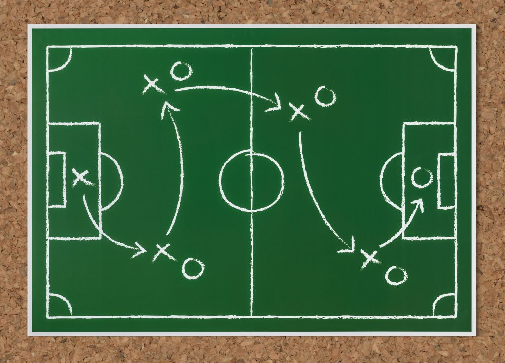 A cartoon drawing of a football (soccer) field with positions and arrows.