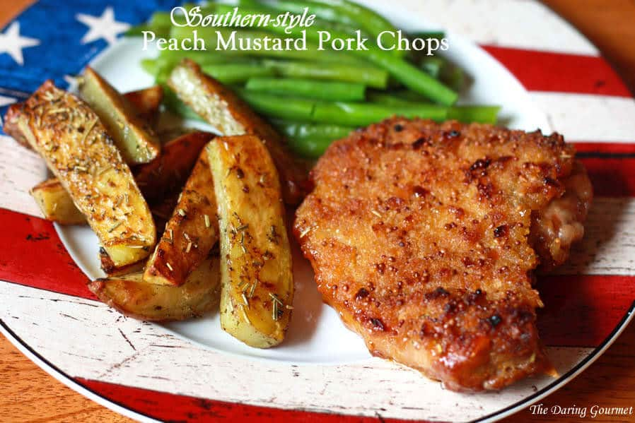 peach mustard pork chops recipe southern herbs crust batter