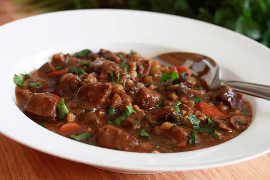 beef barley stew recipe spinach wine angus carrots vegetables healthy hearty