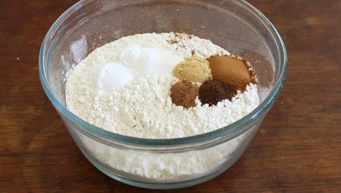 Chocolate Butterscotch Pumpkin Streusel Cake prep 1