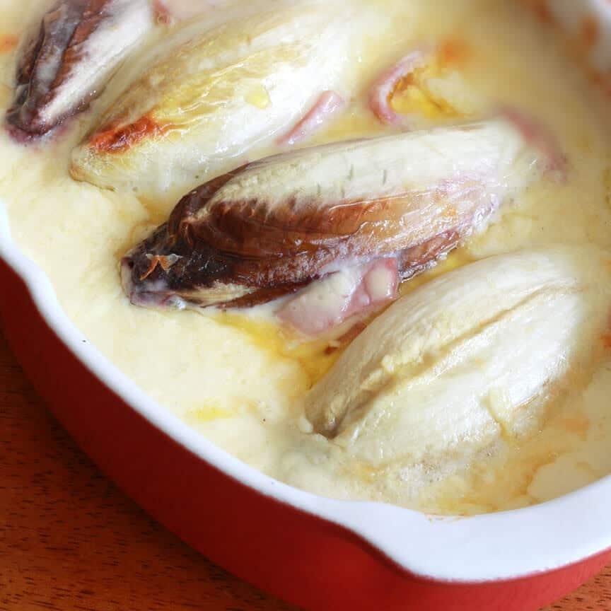 baked endives ham bechamel recipe cheese Swiss