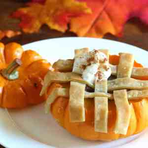 mini pumpkin pies baked in pumpkins
