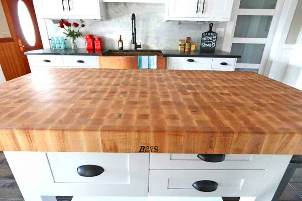 kitchen block white flat panel cabinets the 1912 modern farmhouse remodel our john boos butcher review island table