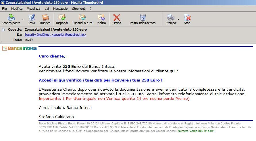 mail di phishing ricevuta dal sottoscritto