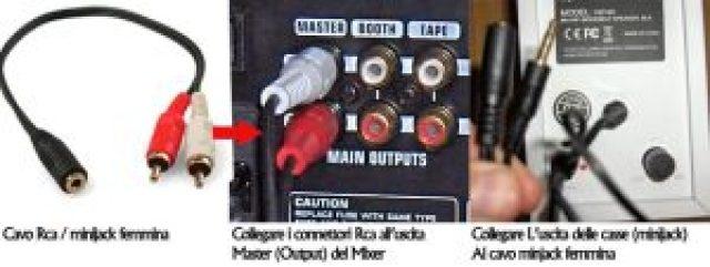 collegamento illustrato su come collegare una cassa per pc ad un mixer