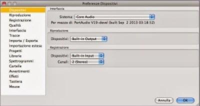 Come settare Audacity su windows e mac