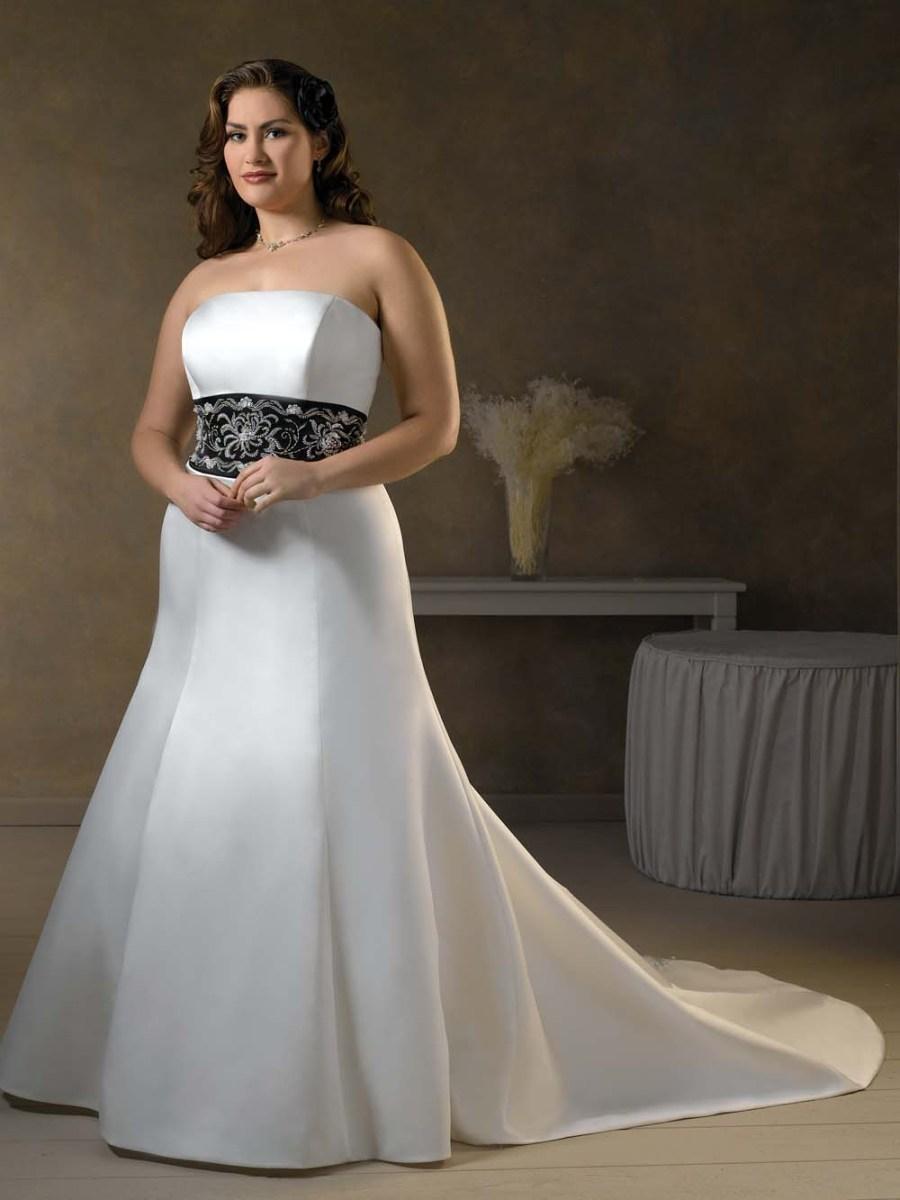 strapless black white plus size wedding dresses - Darius ...