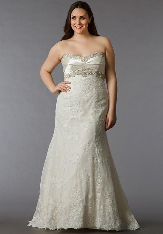 Empire Waist Lace Wedding Gowns For Plus Size Brides,Fashionable Lace Dress Styles For Wedding Guest