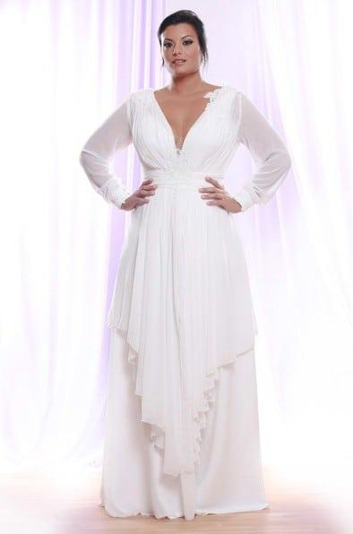 Sheer Chiffon Long Sleeve Wedding Dress for Plus Size Brides