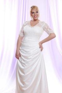 Silk Satin Plus Size Wedding Dress w/ Long Sheer Illusion ...