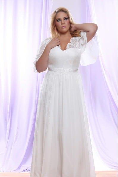 c5886479d876 Brocade Chiffon Plus Size Wedding Dress with Empire Waist