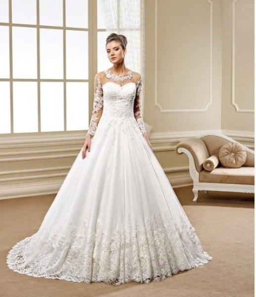 info for 10aec b986d Style 5489 Sheer long sleeve lace wedding gown with ball ...