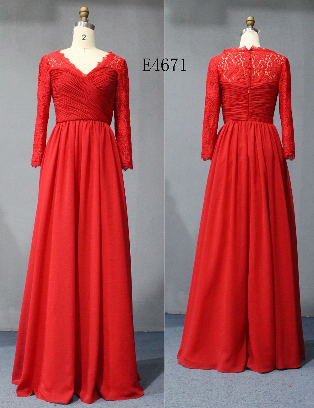 Red Lace Mother of Bride Evening Dresses