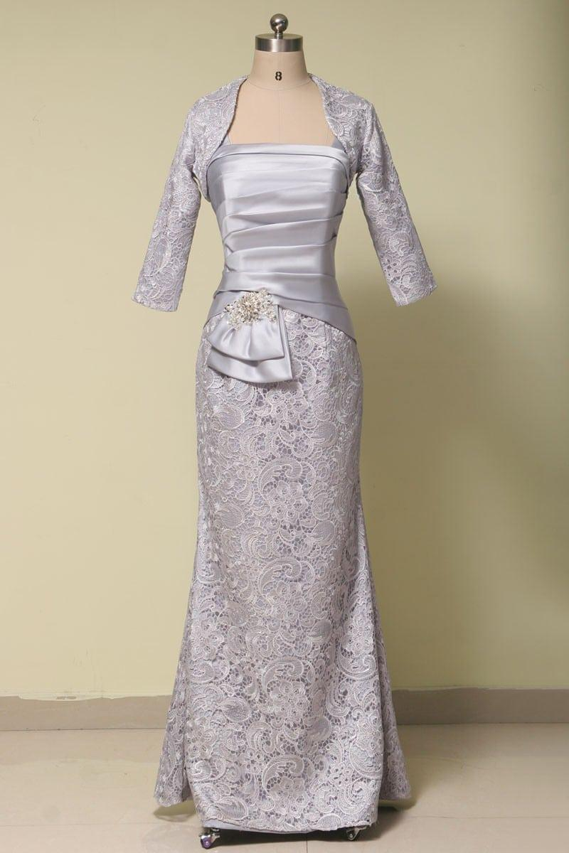 platinum silver grey mother of the bride dress  darius