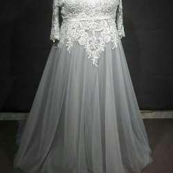 Three quarter length sleeve plus size wedding dresses