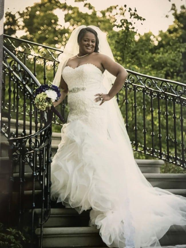 aa13e96a706 Plus size fit-and-flare wedding gown sith strapless neckline from Darius  Bridal