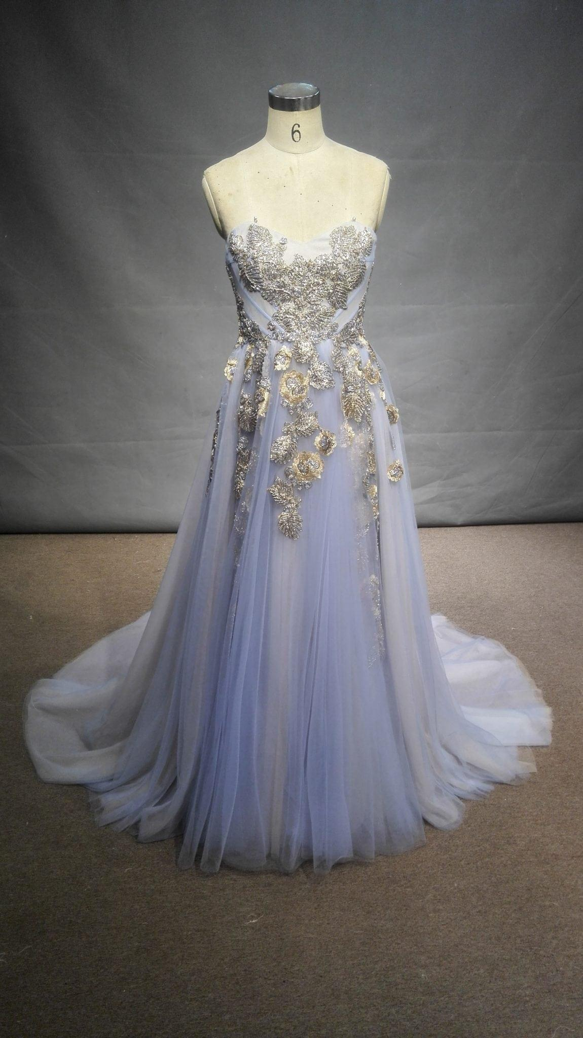 Strapless pastel blue colored aline evening gown