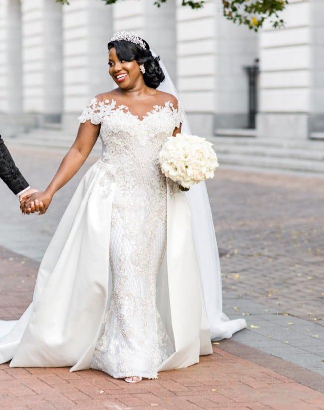 Cap sleeve plus size wedding gown – DARIUS DESIGNS