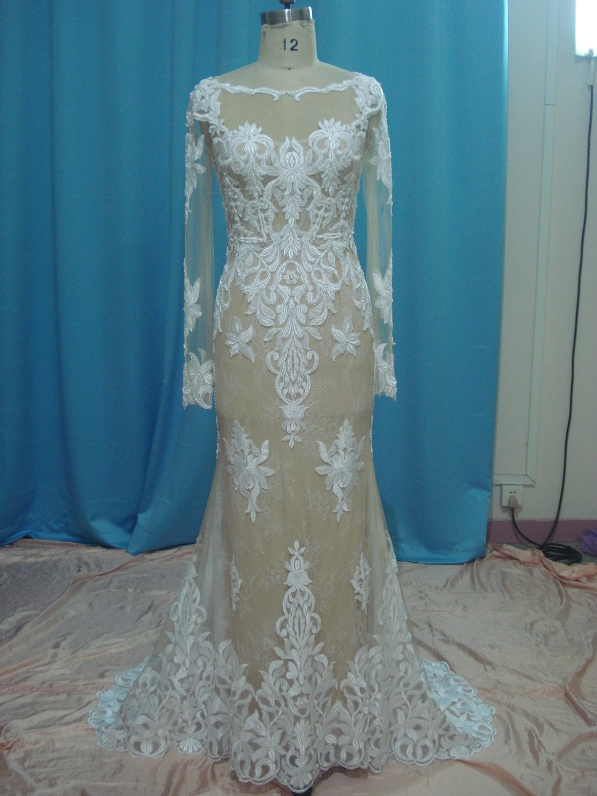 46c277ceaf BW090 Nude and Ivory Sheer long sleeve wedding dresses from darius cordell