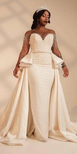 Fully beaded long sleeve wedding dresses plus size