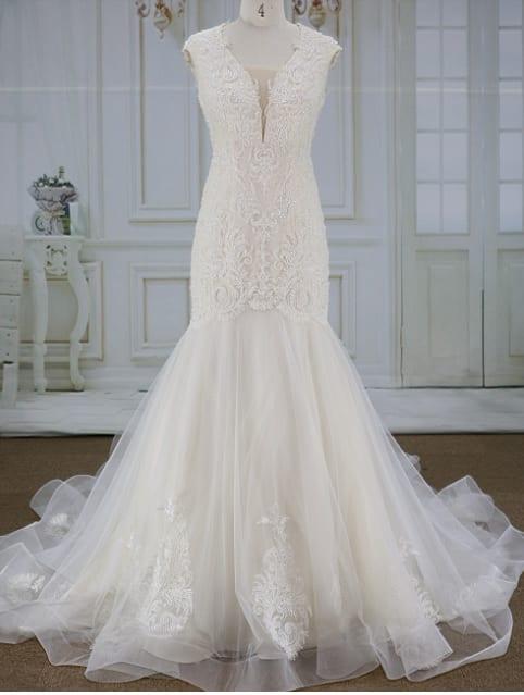 Fit N Flare Cap Sleeve Wedding Gown From Darius Customs
