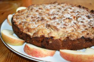 Ganzer Apfelkuchen ohne Fett. Rezeptbild
