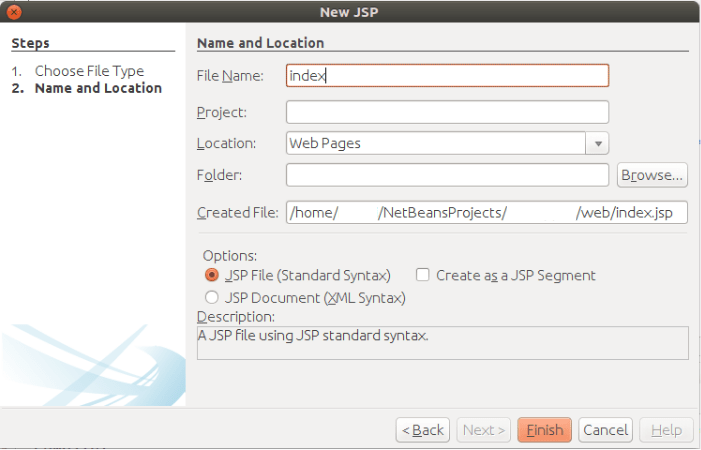 Create a Simple JSP Page in Netbeans