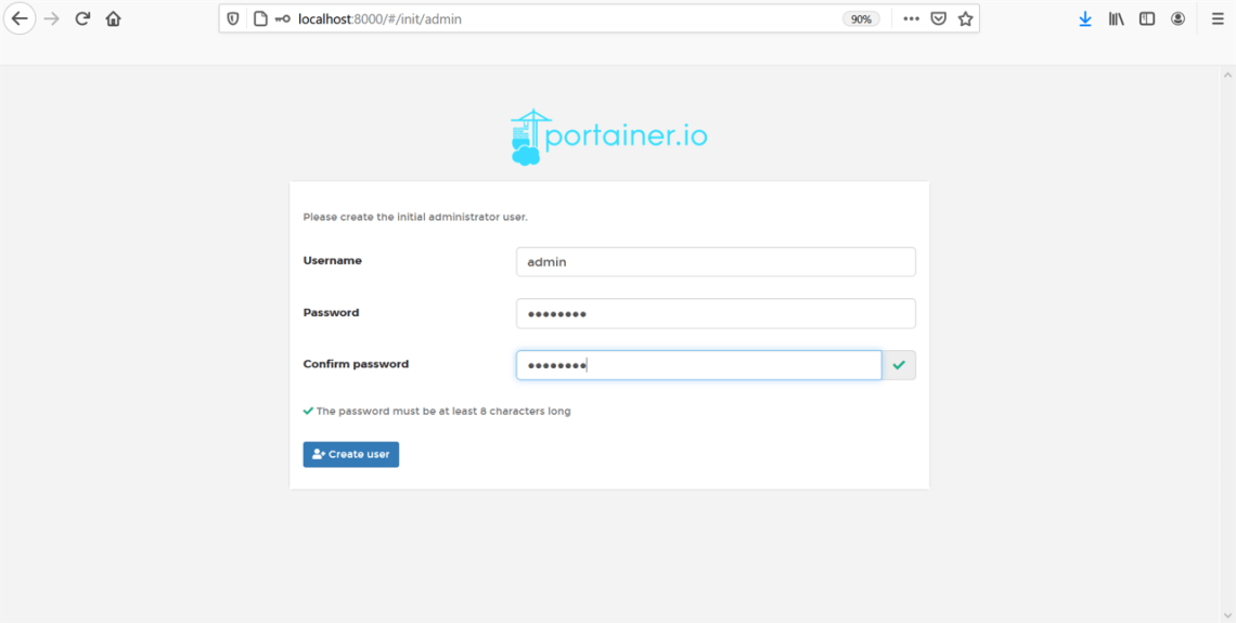 How to Access Portainer running in a virtual server using Linux CentOS 8