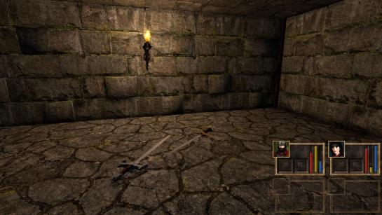 Sword assets lying on the dungeon floor.